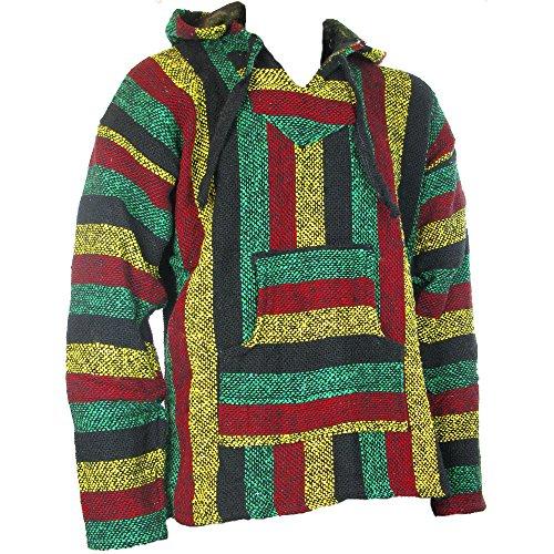 Maglione Siesta con cappuccio hippie festival colori rasta, taglie S, M, L, XL, XXL