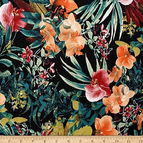 Telio Bloom Stretch Cotton Sateen Floral Pumpkin Fabric, Black, Fabric By The Yard