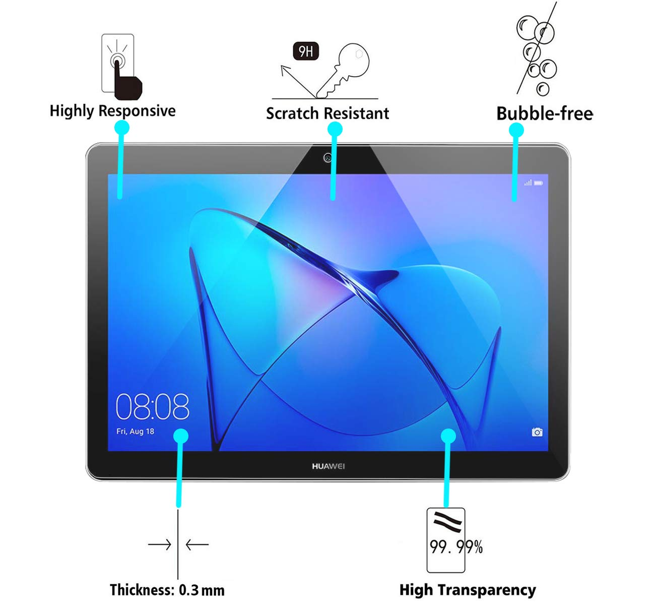 Tocco Morbido 3Pezzi Didisky Pellicola Protettiva in Vetro Temperato per Huawei MediaPad T3 10.0 inch, Facile da Pulire Facile da installare Trasparente