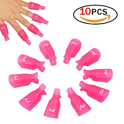 10 Pcs En Plastique Acrylique Nail Art Soak Off Clip Cap UV Gel Polonais Remover Wrap Nail Outil (Rose-Rouge)