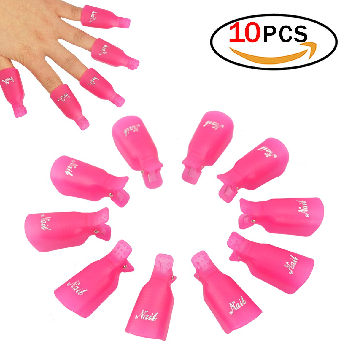 10 Pcs Plastic Acrylic Nail Art Soak Off UV Gel Polish Remover Wrap Clip Cap Nail Tool (Rose-Rouge) Homki