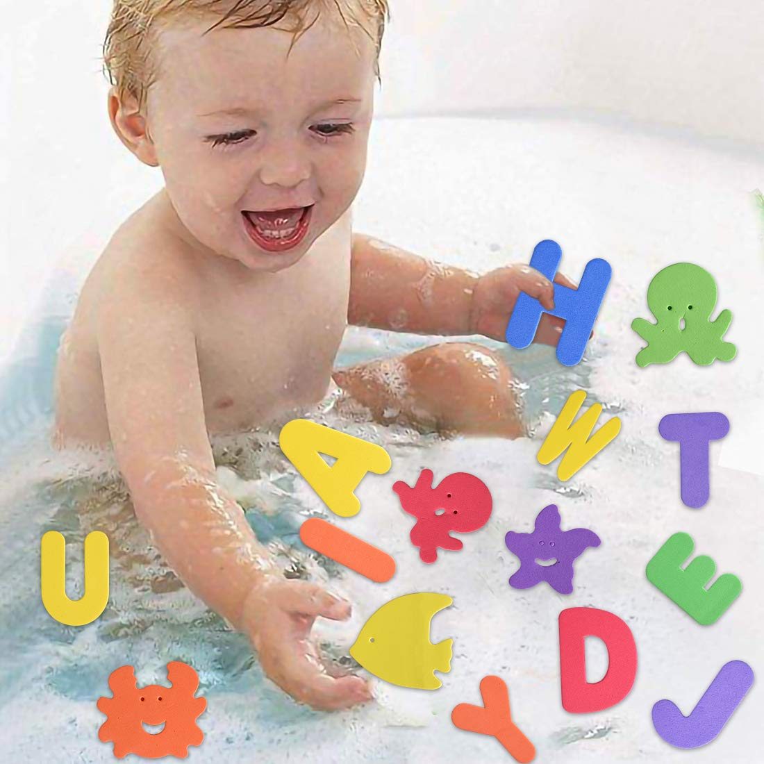 Max Fun 61 Pcs EVA Educational Bath Letters Numbers and Sea Life Bath Toys with Toy Organizer Siauction