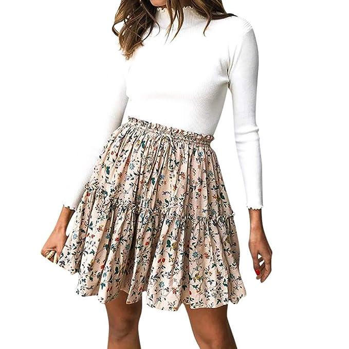 Rcool Falda Corta Faldas Faldas Mujer Invierno Faldas largas Falda Flamenca Mujer, Falda Corta De Fiesta De Noche De Diseño De Impresión De Cintura Alta: ...