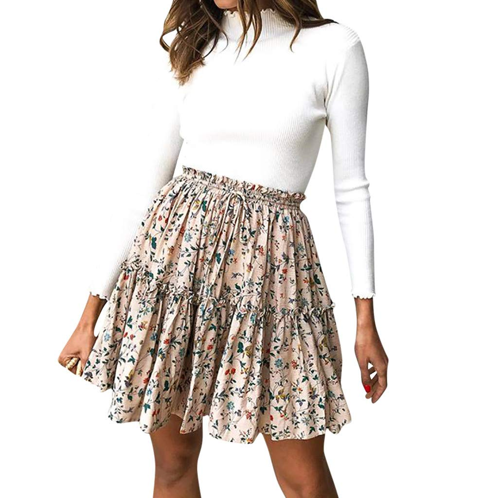 PASATO 2019 New Sale!Women Casual Retro High Waist Print Design Evening Party Short Shirring Mini Skirt(Beige,M=US:S)