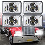 4 PCS DOT Approved Rectangular 4x6 inch LED Headlights Replacement H4651 H4652 H4656 H4666 H6545 For Kenworth T800 T600 Peterbilt 379 Feightliner Ford Probe Chevrolet Oldsmobile Cutlass(Chrome)