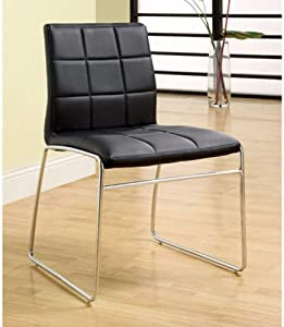 Benzara Kona, Set of Two, Black Oahu Contemporary Side Chair with Steel Tube Finish