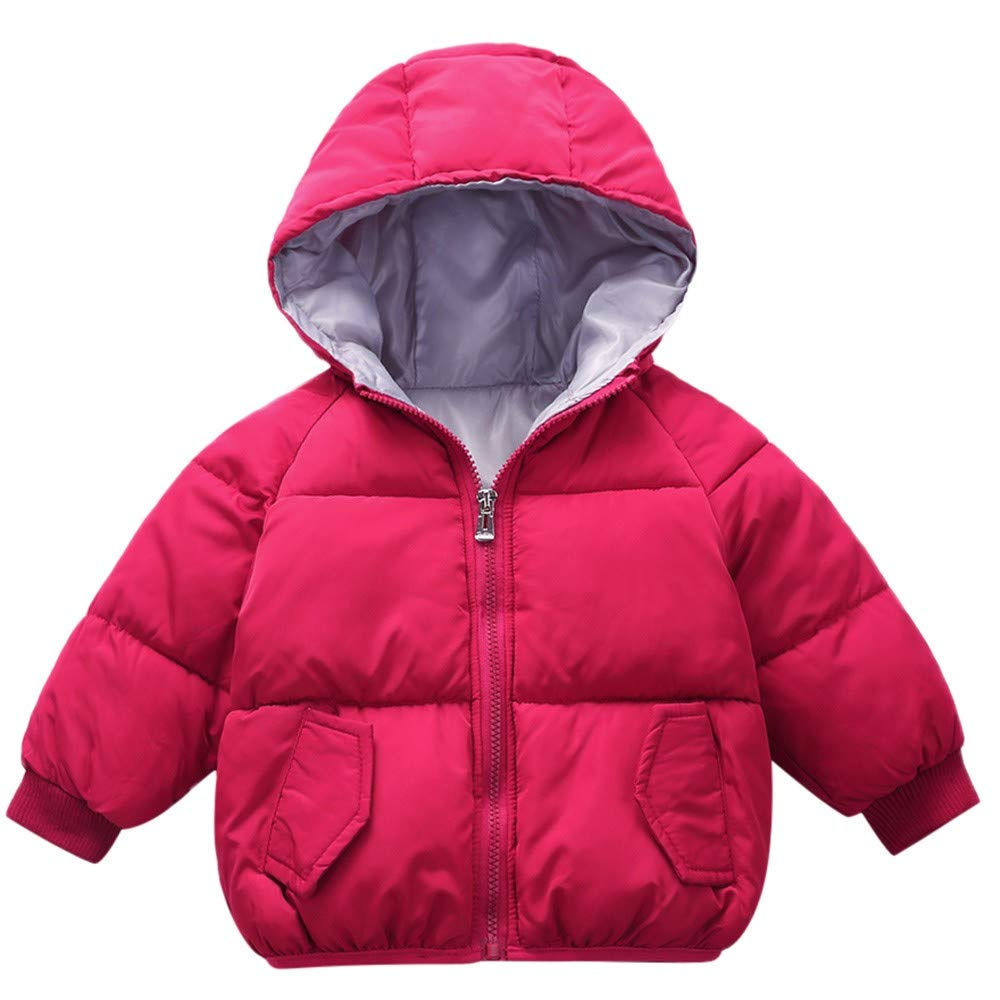 WARMSHOP Kids Baby Boys Down Coat,Long Sleeve Solid Fall Winter Warm Thick Pocket Snowsuit Zipper Hooded Jacket China