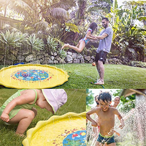 """Sprinkle and Splash Play Mat for Kids - 69"""" Outdoor Sprinkler Water Toys - Perfect Inflatable Sprinkler Pad Summer Swimming Party Beach Pool Water Play Toys for Children Toddler Babie Pet(69"""")"""