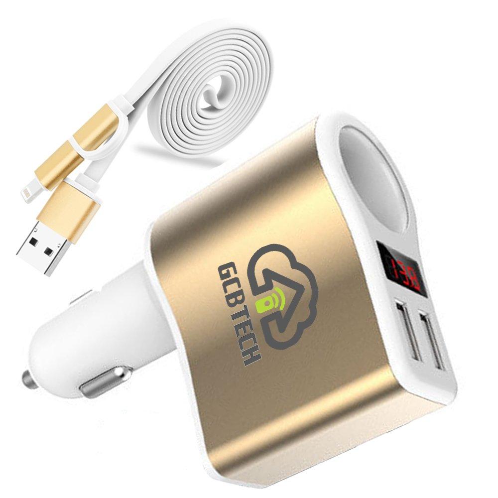 GCBTECH Quick Charge 3.0 coche cargador encendedor de cigarrillos 12 V/24V 15 W 3.1A Dual Port USB adaptador con el voltí metro LED de Exhibició n digital para iPhone, Android telé fono mó vil, tablet y GPS Android teléfono móvi