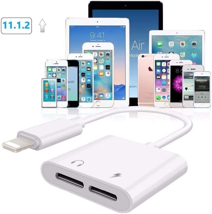 Headphone jack adapter for iphone 11 Adapter splitter charger and headphones for iPhone Earphone dongle Compatible with iPhone 11//XR//XS//X//7//8 Audio /& Charger /& Call /& sync Cable Support All iOS System
