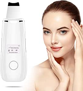 Facial Skin Scrubber Blackhead Remover, Ultrasonic Pore Cleaner Spatula 5 Modes Comedone Extractor Lifting Peeling Beauty Tool USB Rechargeable for Pore Deep Clean