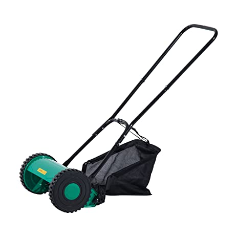 push lawn mower. outsunny 12 inch 5 blade push lawn mower with grass catcher \u2013 green/black i