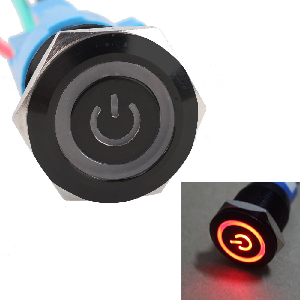 HOUTBY Black Case 19mm 12V 5A Power Symbol Angel Eye Halo Car Red LED Light Metal Push Button Toggle Switch Socket