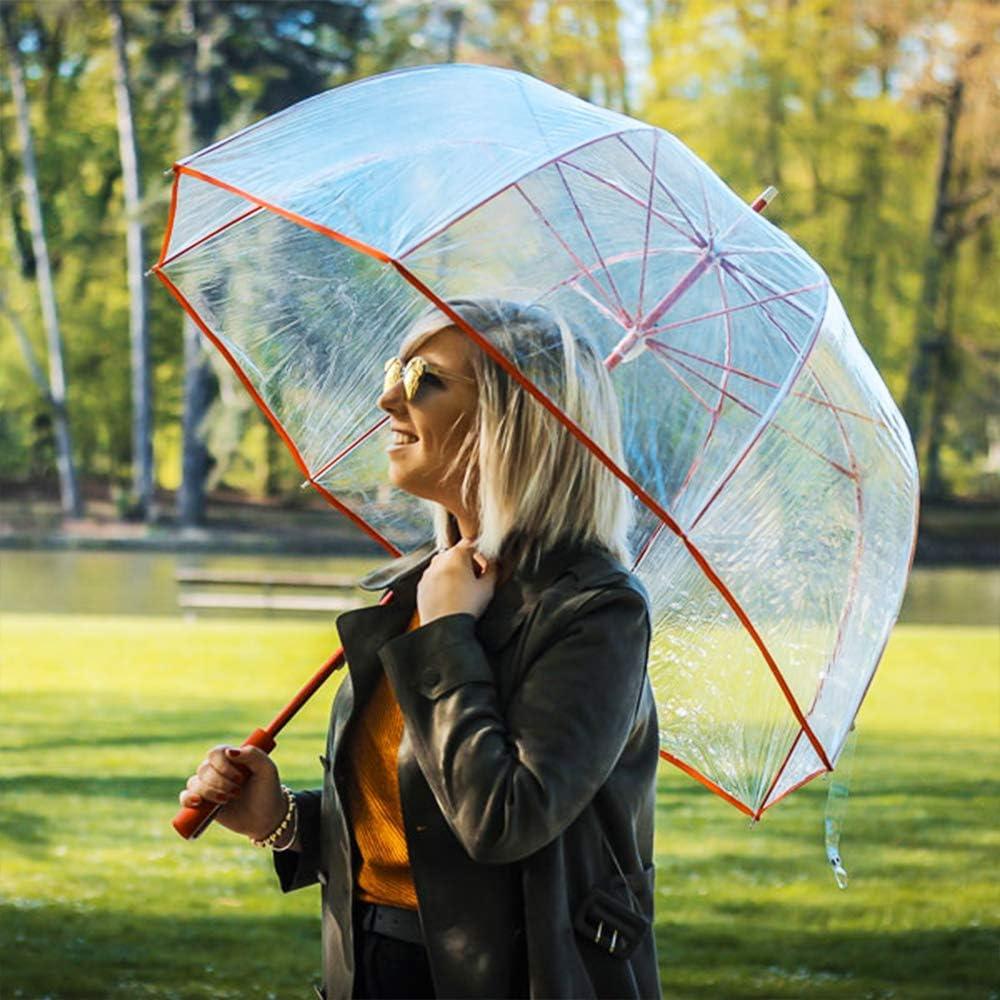 Parapluie Extra Long de 1 M/ètre Large Protection avec Un Diam/ètre de 111 CM Grand Parapluie Cloche Transparent pour Femme Transparent avec Bordure Rouge
