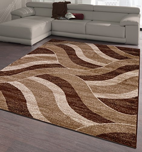 - Ottomanson City Collection Contemporary Sculpted Effect Abstract Waves Chocolate Brown Beige Area Rug - 5x7 (5'3