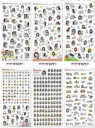 6 sheets Black hair girl bonnie diary books magazines calendar deco PVC stickers