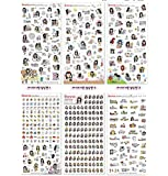 ONOR-Tech 6 Sheets Lovely Cute Black Hair Girls Decorative Adhesive Sticker Tape / Kids Craft Scrapbooking Sticker Set for Diary, Album, Cellphone, Journals, Laptop