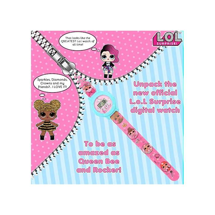 61Hne mP0KL CON TUS MUÑECAS FAVORITAS: Este reloj de las muñecas LOL Surprise tiene las imagines de las muñecas favoritas de tu hija, incluso Queen Bee, Merbaby, MC Swag y Fancy CAJA REUTILIZABLE: Nuestro reloj de las LOL glam glitter está en una caja que puede ser reutilizada como alcancía o como caja para las joyas de tu hija EDICIÓN LIMITADA: Solo tenemos un número limitado de piezas de estos reloj infantil Lol Surprise Dolls, ordene ahora para evitar decepciones. Solo 1 compra por cliente