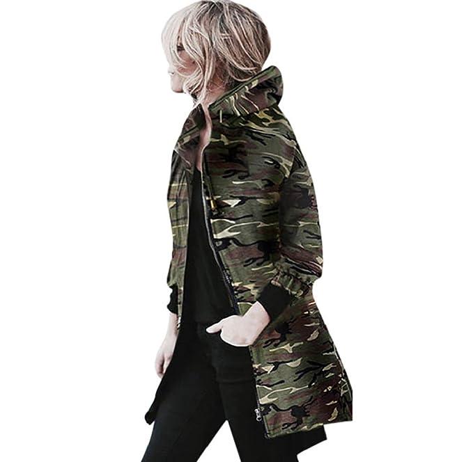 Internet Escudo, Abrigo, Abrigo de Manga Larga con Capucha para Mujer Chaqueta Cazadora Camuflaje Outwear