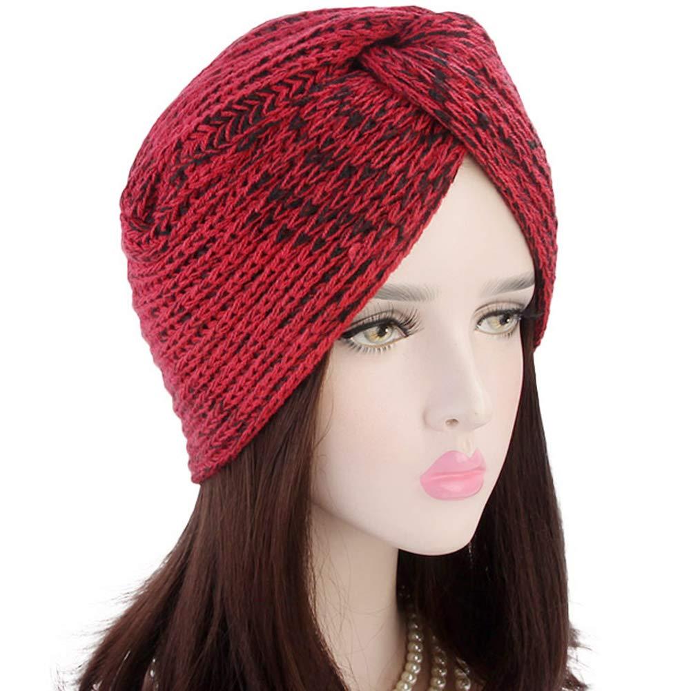Ssowun Cappello turbante Lana calda inverno donna Berretto indiano Cappuccio incrociato
