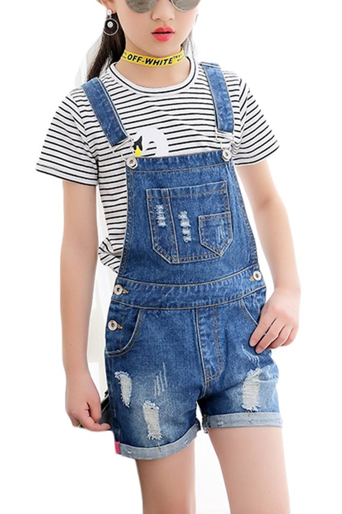 Luodemiss Big Girl's Denim Jumpsuit Boyfriend Jeans Denim Romper Shortalls (12/Big Kids, Blue 1)