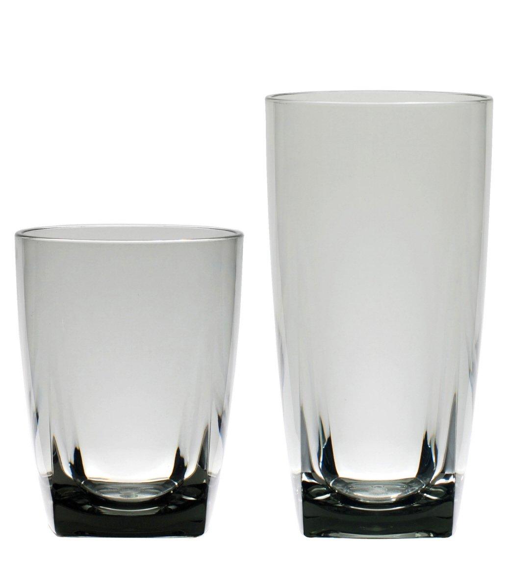 QG 6 pc Clear Smoke Light Grey Acrylic 26 oz Iced Tea Cup w/ Heavy Square Base Plastic Tumbler Set by QG (Image #2)