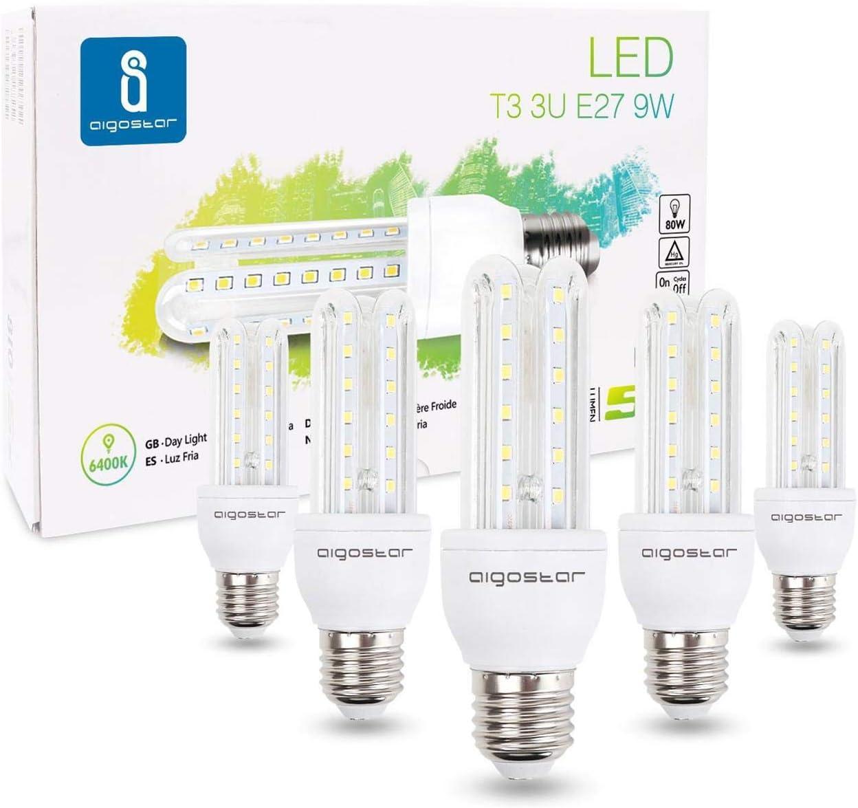 Aigostar - Bombilla LED B5 T3 3U, E27, 9 W equivalente a 80 W, Luz blanca fría 6400K, 810 lúmenes, no regulable - Caja de 5 unidades [Clase de eficiencia energética A+]