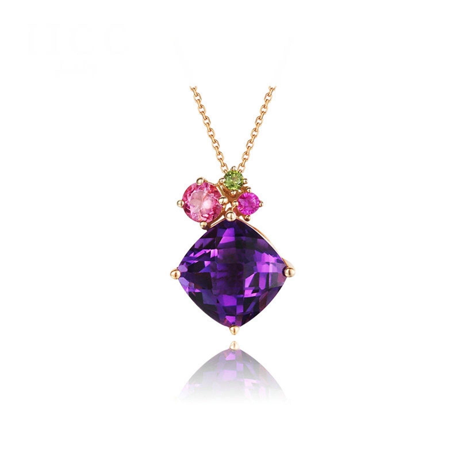 KnSam 18K Gold Necklace For Women Purple Sapphire Radiant Cut Rose Gold 40CM,0.75Ct [Fine Jewelry]