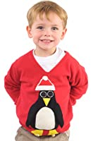 Woolly Babs Kids Christmas Jumper Pablo Penguin