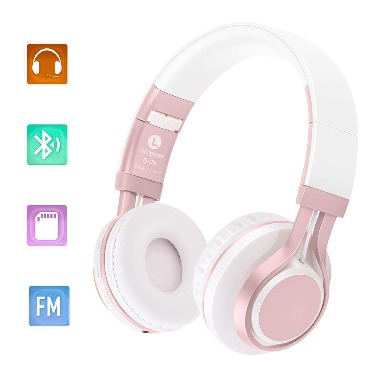 Auriculares Plegables Bluetooth, 4.0 Bluetooth Sobre el Oído Auriculares Inalámbricos Estéreo Hi-Fi 4 en 1 con Micrófono/FM / TF Tarjeta/AUX para PC ...