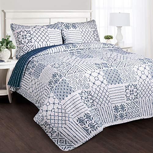 Monique 3 Piece Quilt (Full/Queen) Blue - Lush Décor