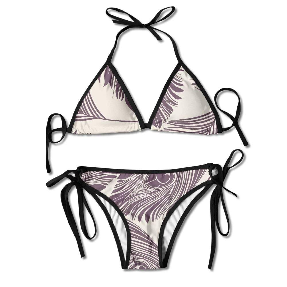 Peacock Feathers Women's Tie Side Bottom Bikini Suits Two Pieces Swimwear