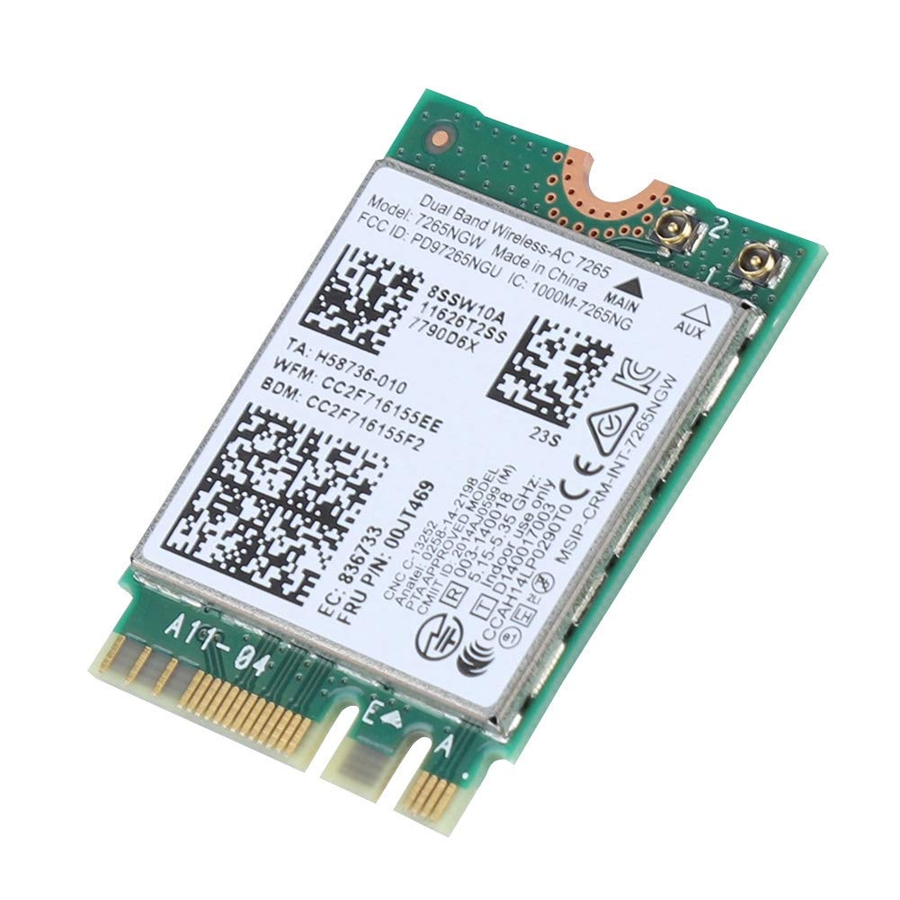 Tarjeta de Red inal/ámbrica para Thinkpad Intel 7265AC Dual Band 867M Bluetooth 4.0 NGFF Interface Pokerty Tarjeta de Red inal/ámbrica