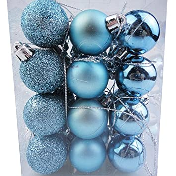24 pcslot 30mm blue christmas balls ornaments seasonal decorations ideal for xmas - Blue Christmas Balls