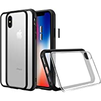 RhinoShield Coque Modulaire iPhone XS [Mod NX]   Coque protectrice résistante aux Chocs - Compatible avec Charge sans Fil et des objectifs Photos - Bumper Noir avec Verso arrière Transparent