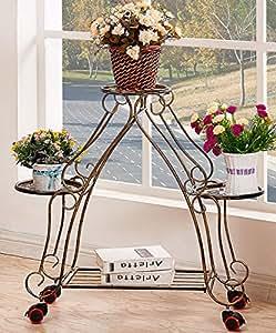 LB Estante de flor de hierro, Movible Push - Pull Flower Stand con rueda - Piso Flower Racks Flor de macetas de marco de estilo europeo de alto grado Bonsai marco Balcón Flowerpot Estantería para macetas ( Color : B , Tamaño : 63*79cm )