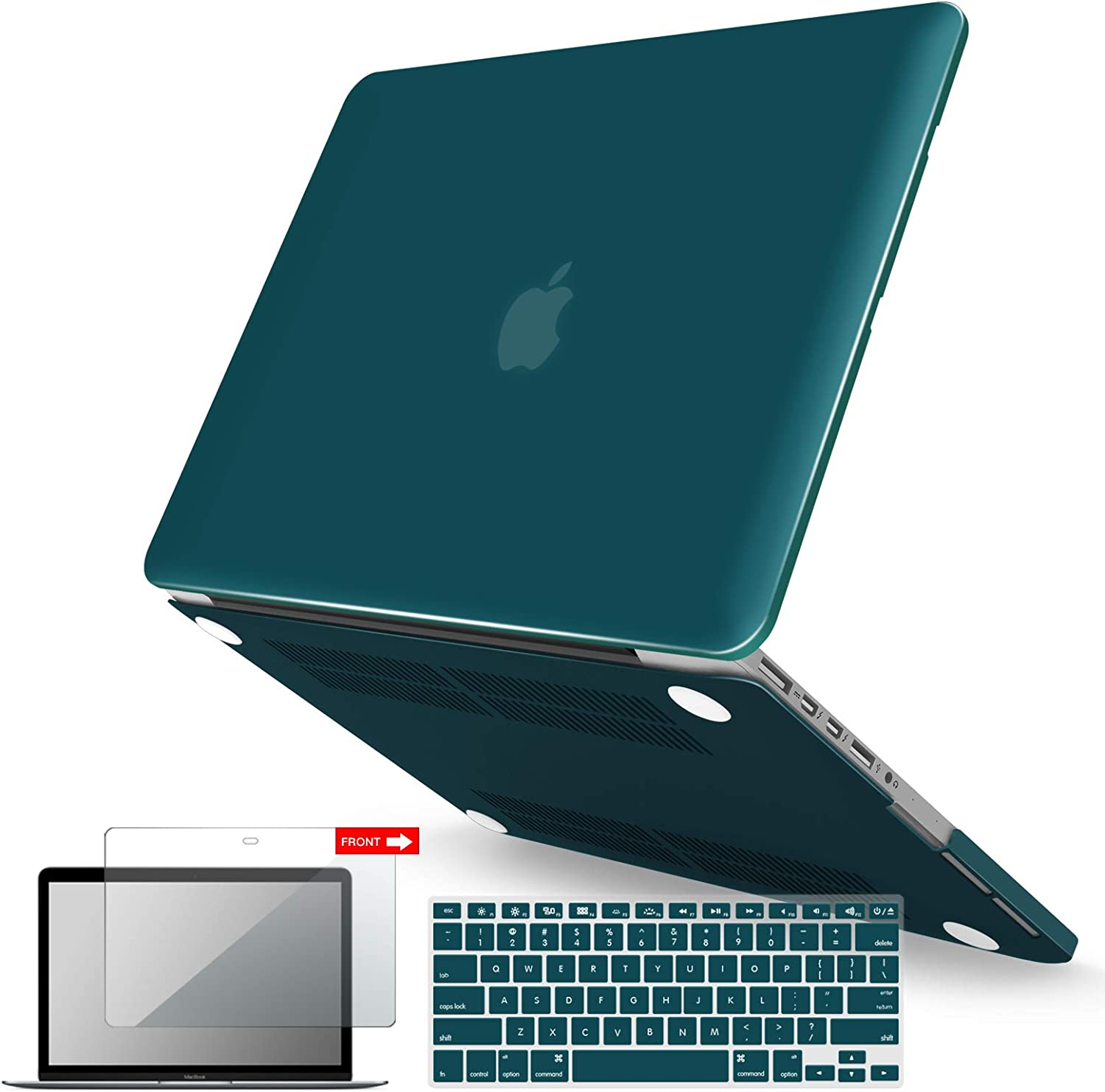 IBENZER MacBook Pro 13 Inch Case 2015 2014 2013 end 2012 A1502 A1425, Hard Shell Case with Keyboard Cover & Screen Protector for Old Version Apple Mac Pro Retina 13, Quetzal Green, R13QUGN+2
