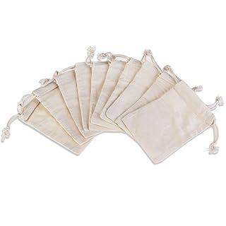 Nuolux - Borsette in mussola di cotone con coulisse, per cotillon, bomboniere da matrimonio e gioielli; 10 x 14,5cm; in confezione da 10 5cm; in confezione da 10