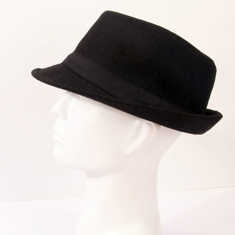Melesh Unisex Classic Trilby Fedora Hat (Black) by Melesh (Image #6)