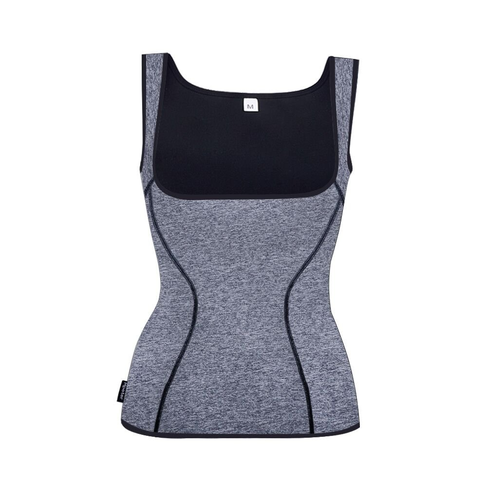 Women Waist Trainer Neoprene Sauna Suit for Weight Loss, Running Yoga Workout Tank Top Sweat Vest (Gray, XL)
