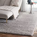 nuLOOM Soft and Plush Cloudy Solid Shag Area Rugs, 8' x 10', Silver