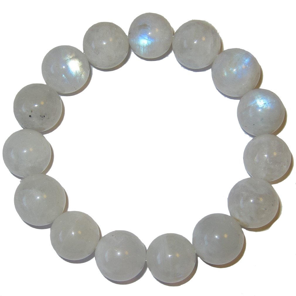 Moonstone Bracelet White 15A Mm Rare Deluxe Big Beads Blue Rainbow Crystal Goddess Fashion Authentic Stones Semi-Clear Gem (6.75)
