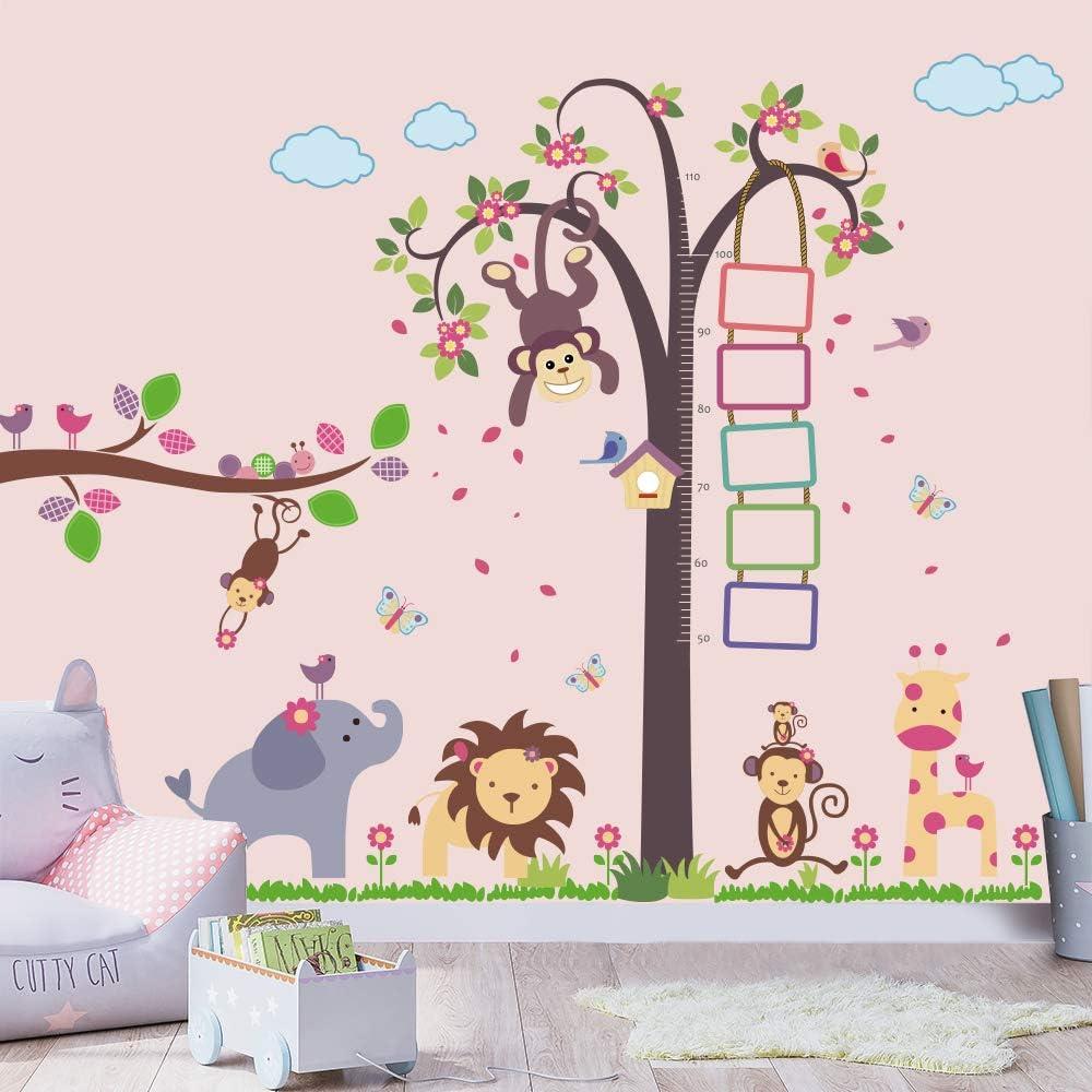 Supzone Jungle Animals Tree Wall Stickers Monkey Elephant Giraffe Wall Decals Kid Height Chart & Photo Frame Wall Art Sticker for Kids Room Baby Room Nursery Bedroom Home Wall Decor