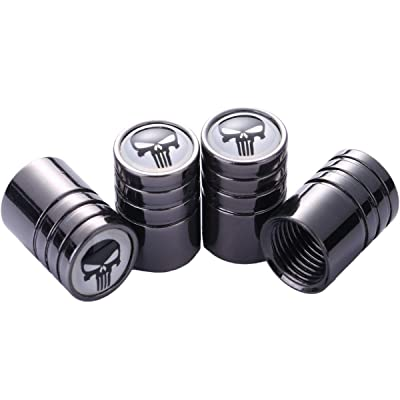 TK-KLZ 5Pcs Chrome Skull Logo Car Bike Scooter Tires Valve Stem Caps for Jeep Dodge Mercedes BMW Mustang Volvo Chevrolet Nissan Audi VW Ford Honda Toyota Jaguar Decorative Accessories: Automotive