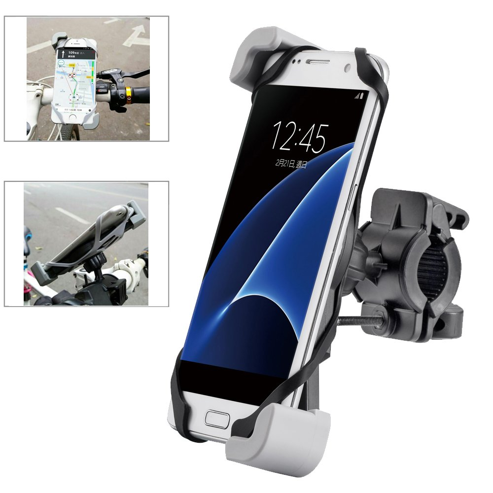 [2017 Secure Clamp] Ogaming Bike Cell Phone Mount Bicycle Motorcycle Handlebar Holder, Universal for iPhone 7 6 Plus 5s 4 Galaxy S8 S7 S6 Edge S5 S4 Note 5 4 other Device,Casual&MTB Riding