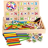 Math Learning Toys, TechCode Wooden Digital Stick Colorful Counting Puzzle Learning Toy Educational Counting Box Number Cards Mathematical Intelligence Stick Early Clock Education Count for Preschool