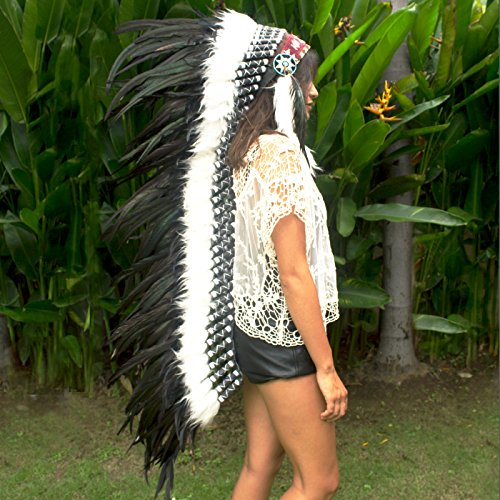 Indian Medicine Man Costume (Extra Long Feather Headdress- Native American Indian Inspired- Handmade Halloween Costume for Men Women with Real Feathers - Black Rooster)