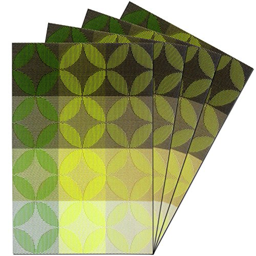 Kitchen PVC Placemats - Dining Room Heat Insulation Stain-resistant Eat Mats for Table - Rectangle Washable Non-slip Decor Jacquard Woven Plastic Vinyl Chinese Coins Pattern Place Mats,Set of 4, Green