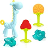 SHARE&CARE BPA Free Silicone Giraffe/Fruit Baby Teether Toy with Storage Case, for 3 Months Above Infant Sore Gums Pain Relie