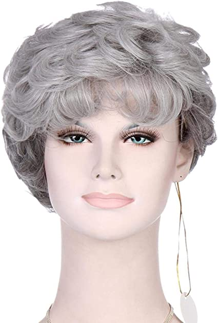 YZ-YUAN Wig silver gray curly short Hairpiece